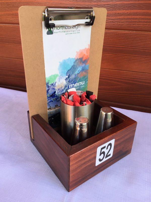 Wooden Restaurant Menu Display Holders Table Talkers Condiment Holders - Restaurant table talkers
